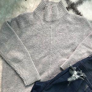 Gray box fit mock neck sweater